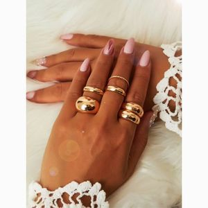 Minimal Chunky Gold Dome Smooth 6 Ring Set